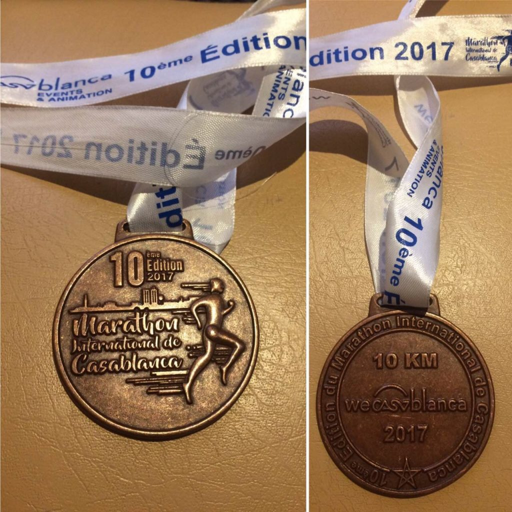 "Casablanca Marathon Medal. Looking good, but ""10 km"" is not fair"